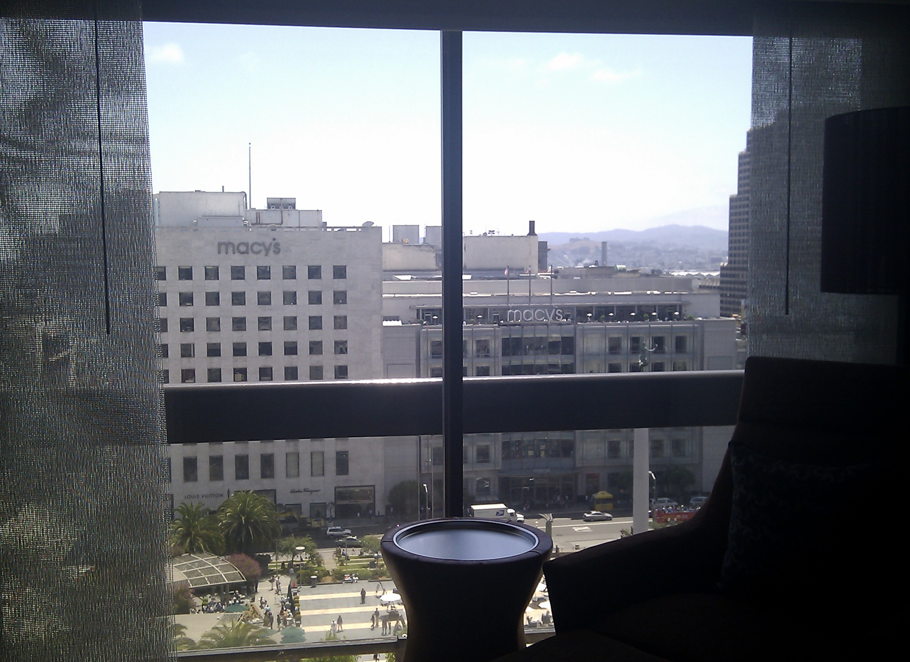 Room with a view over Union Square on Grand Hyatt