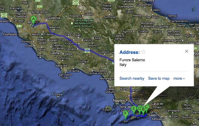 Karta över Italien och Amalfikusten