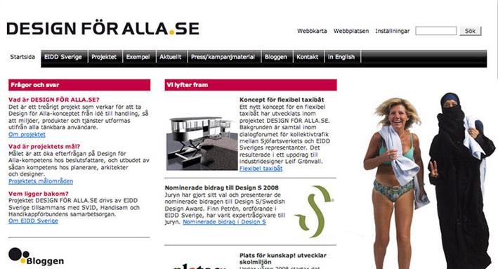 Design för Alla projektets webbplats