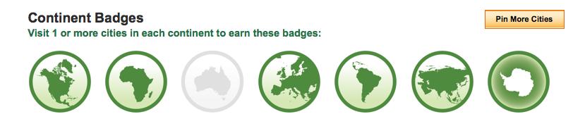 Continent badges Tripadvisor