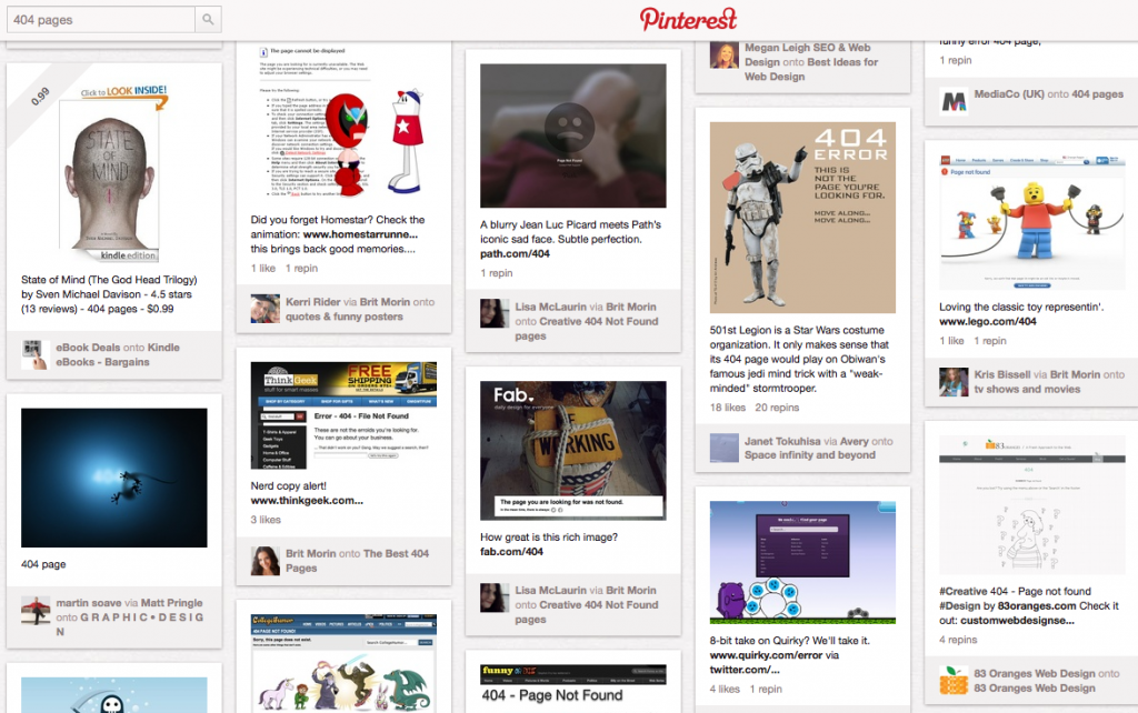Searched and found - 404 pages on Pinterest