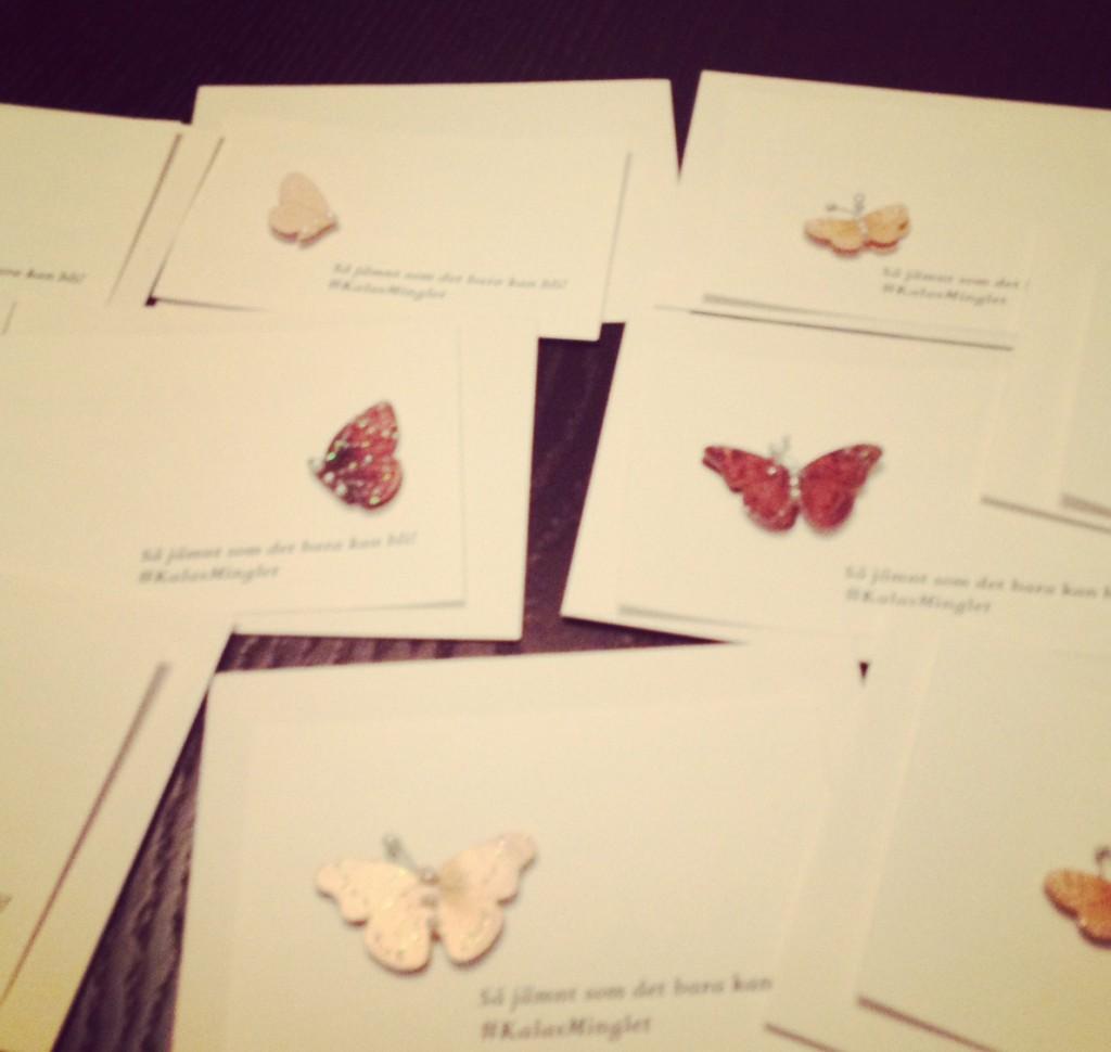 Mina inbjudningar med små fjärilar på