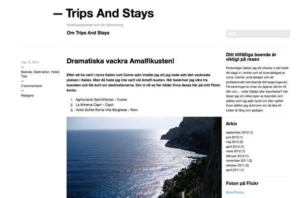 Trips&Stays - min resblogg har jag importerat hit.
